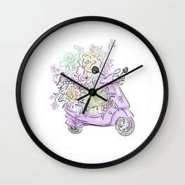 flowers and scooter 2 Wall Clock
