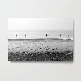 Surfers Waiting on Waves in Malibu California Metal Print