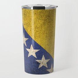 Old and Worn Distressed Vintage Flag of Bosnia - Herzegovina Travel Mug