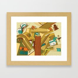 Monsters on Stairs Framed Art Print