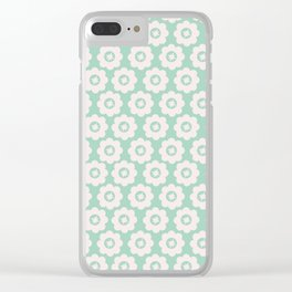 Duck Egg Blue Retro Floral Clear iPhone Case