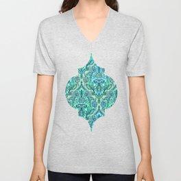 Botanical Moroccan Doodle Pattern in Mint Green, Lilac & Aqua Unisex V-Neck