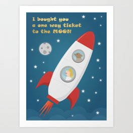 Ticket To The Moon Art Print
