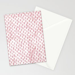 Minimalist Staggered Brush Strokes Pink Stationery Cards