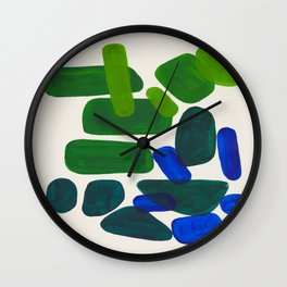 Minimalist Modern Mid Century Colorful Abstract Shapes Phthalo Blue Lime Green Gradient Overlapping Wall Clock