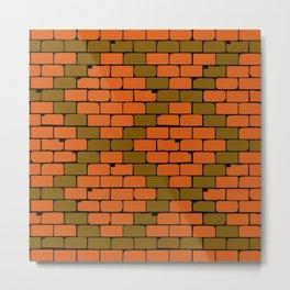 Old Brick Wall Rhombus Pattern Metal Print