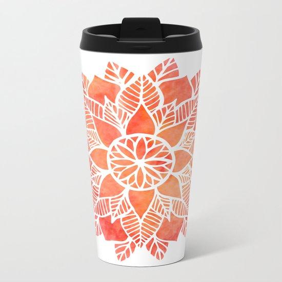 Orange Mandala Metal Travel Mug