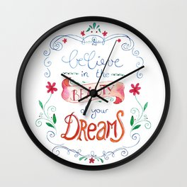 handlettering believe  Wall Clock