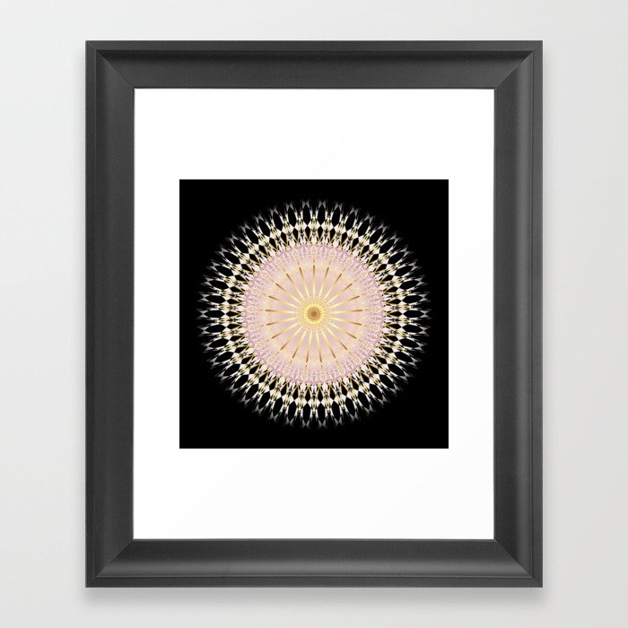 Blush Gold Black Mandala Gerahmter Kunstdruck