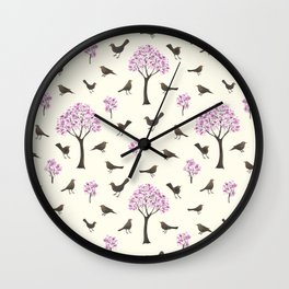 Cherrytrees and Blackbirds Wall Clock