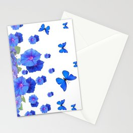 BABY BLUE ART BLUE BUTTERFLIES & MORNING GLORIES Stationery Cards