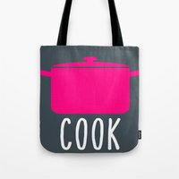 cook Tote Bags featuring Cook by Vintage Fox