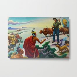 Classical Masterpiece 'American West from Native Americans Perspective' by Thomas Hart Benton Metal Print