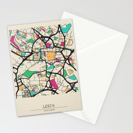 Colorful City Maps: Leeds, England Stationery Cards