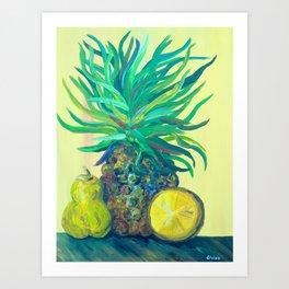 Pear and Pineapple Art Print