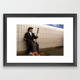 Asian Man Plays Erhu Framed Art Print