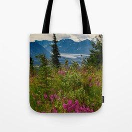 Alaskan Glacier & Fireweed Tote Bag