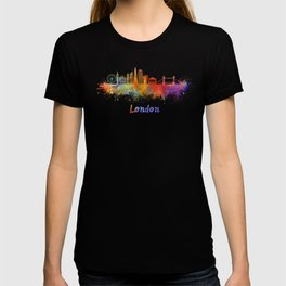 London V2 skyline in watercolor T-shirt