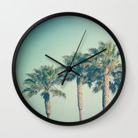 palms Wall Clocks featuring Palms by Laura Ruth