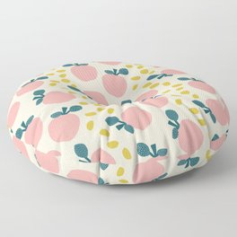 Cute pink apples and yellow leaves pattern Floor Pillow