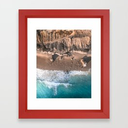 Aerial view of El Matador Beach in Malibu, CA Framed Art Print