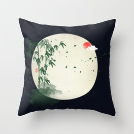 bamboo in the moonlight Throw Pillow