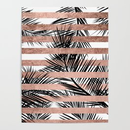 Trendy tropical palm trees chic rose gold stripes Poster