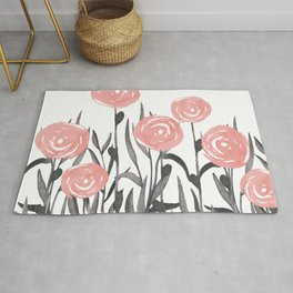 Floral Watercolor Abstract, Cute, Pink and Gray, Floral Prints Rug