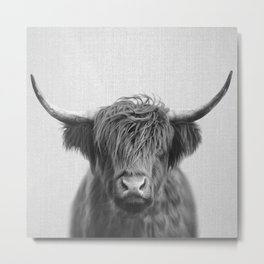 Highland Cow - Black & White Metal Print