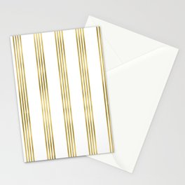 Simply luxury Gold small stripes on clear white - vertical pattern Stationery Cards
