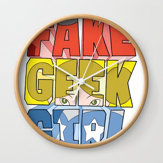 FAKE GEEK GIRL Wall Clock