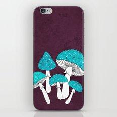 Blue mushrooms field on plum violet iPhone & iPod Skin