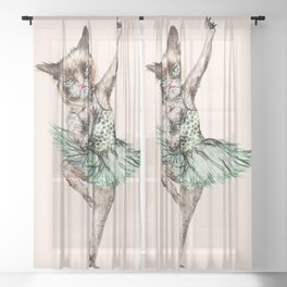 Siamese Ballerina in Cat Ballet Sheer Curtain
