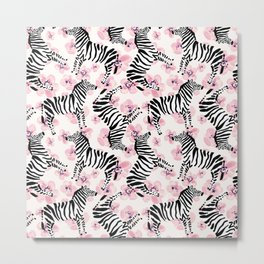 Zebra with pink flowers pattern Metal Print