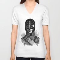 wrestling V-neck T-shirts featuring WRESTLING MASK 6 by DIVIDUS