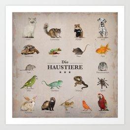 """""""Die Haustiere"""" Collage of pets on vintage background (German) Art Print"""