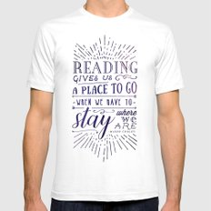 Reading gives us a place to go - inversed Mens Fitted Tee White SMALL