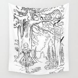 Alice in Wonderland - Black & White Wall Tapestry
