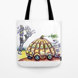 Punky Pumpkin Car for fast safe Halloween Carpool Trick or Treating Tote Bag