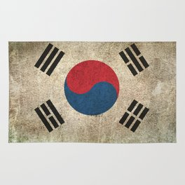 Old and Worn Distressed Vintage Flag of South Korea Rug