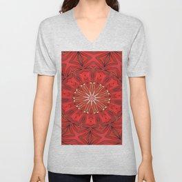 Red Bold Kaleidoscope Pattern Unisex V-Neck