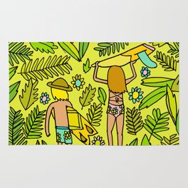 Wander On // Single fin Twin Fin surf art tropical Rug