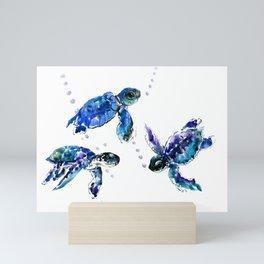 Three Sea Turtles, Marine Blue Aquatic design Mini Art Print