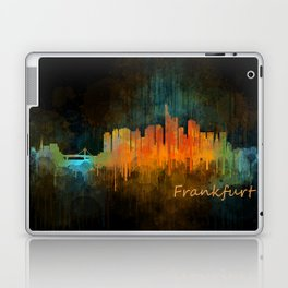 Frankfurt am Main, City Cityscape Skyline watercolor art v4 Laptop & iPad Skin
