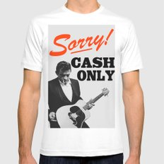 Sorry! Cash Only LARGE White Mens Fitted Tee