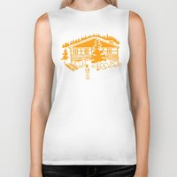 cabin Biker Tanks featuring Family Cabin by Robert Cooper