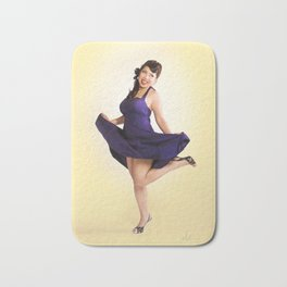 """""""Flirt Skirt"""" - The Playful Pinup - Cheesecake Pinup Smile in Purple Dress by Maxwell H. Johnson Bath Mat"""