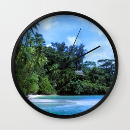 South Pacific Paradise Romantic Tropical Beach Wall Clock