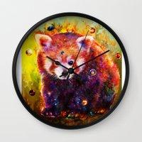 red panda Wall Clocks featuring red panda by ururuty