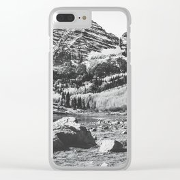 Maroon Bells Black and White Clear iPhone Case